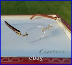 Cartier C Decor Eyeglasses Sunglasses 18k GOLD Logo Wood VINTAGE N. O. S