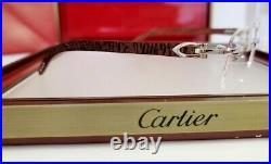 Cartier C Decor Eyeglasses Sunglasses Platinum Tiger Wood Bubinga Vintage N. O. S