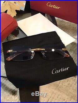 Cartier C Decor Vintage Optical Rimless Wood Eyeglass sunglass Frames