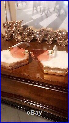 Cartier C Decor Vintage Optical Rimless Wood & Steel Eyeglass sunglass Frames
