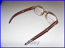 Cartier Glasses Vintage Gold & Wood Frame Paris France