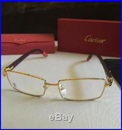 cartier gold rim wood frame glasses vintage style authentic mens pre owned