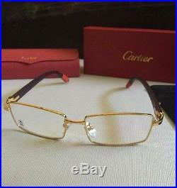 Cartier Gold Rim Wood Frame Glasses Vintage Style