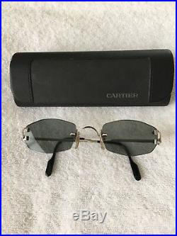 Cartier Soho Rimless Silver Gray Lenses Sunglasses Made In France Vintage