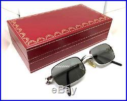 Cartier Vintage Eyeglasses / Sunglasses with BOX. Vendome Santos Silver 48-21