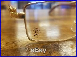 Cartier gold plated wood eye glasses with case Paris 140