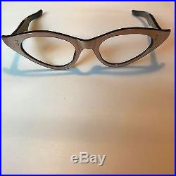 Champagne Winged Cateye Glasses, Vintage Cat Eye Glasses in Pearl Taupe NOS