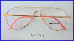 Cottet France Brillengestell oversized Damenbrille gold-rosa Vintage Pilot Gr. M