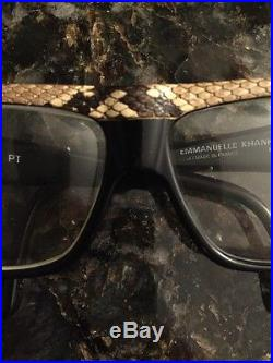 EMMANUELLE KHANH Paris France Hand Made Python Trim Glasses Eyeglasses VINTAGE