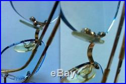 EROS 22K Gold eyeglasses frames blue lenses vintage mod regency MADE IN FRANCE