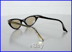 Edle Frame France Gold Schwarz Cat Eye Brille Sonnenbrille Rockabilly Ära 50er