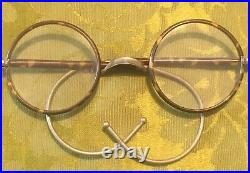 FRENCH 1920s ROUND EYEGLASSES SPECTACLESSILVER METAL & TORTOISE CELLULOIDMINT