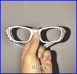 Frame France Vintage 60s Pearl White Rhinestone Cat Eye Glasses Unused NOS Carve