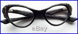 Frame France Woman's Cat Eye Eyeglasses Cristina T. G. 1950s-60s, Black, 50s