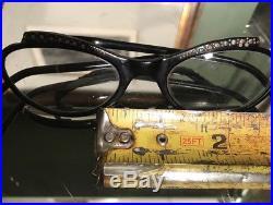 French Bakelite True vintage Black Rhinestone Cat Eye Glasses Made in France
