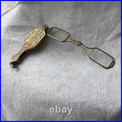 French Victorian Lorgnette Folding Eye Glasses Antique Silver Reading Sterling