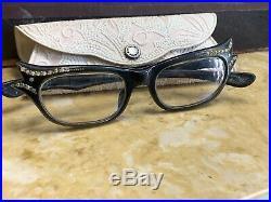 Gorgeous Vintage French Cat Eye Glasses Sunglasses France Frame WithOG Case