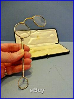J, C, VICKERY LONDON, PAIR OF SILVER LORGNETTE GLASSES, ORIGINAL BOX, c 1910-20