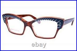 Lafont vintage Majeste semi-cat eye eyeglasses navy blue, brown, plastic, metal