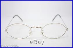 Les Puces Gouverneur Audigier Vintage Oval Eyeglasses Eyewear France 44mm Silver