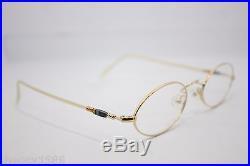 Les Puces Gouverneur Audigier Vintage Oval Eyeglasses Eyewear France 46mm Gold