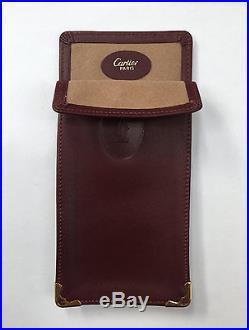 Must De CARTIER Burgundy Leather Spectacle Eyeglasses Frame Vintage Case
