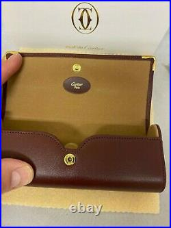 NEW AUTHENTIC CARTIER SMOOTH Hard CASE LEATHER EYEGLASSES SUNGLASS Vintage Case