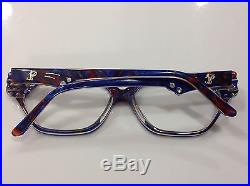 NOS LIDO Paris Vintage Eyeglasses Vienna Blue & Red withcrystals (Womens)