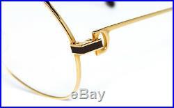 NOS VINTAGE EYEGLASSES CARTIER VENDOME LAQUE 56mm GOLD PURPLE FRAME FULL SET