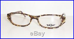 New BOZ Eyeglasses Frames Relax 9255 Brown Vintage Flower/ Yellow Gold 52/17 140