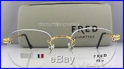 New Custom FRED Vintage Rimless Eyeglasses BEAUPRE 18K Yellow Gold F3-53 135mm