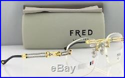 New Custom FRED Vintage Rimless Eyeglasses Futuna 21K Yellow Gold F3-53 125mm