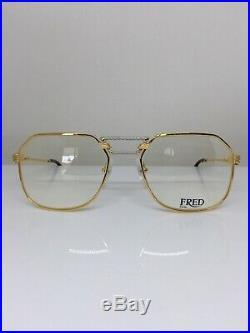 New FRED Lunettes Cap Horn Eyeglasses Force 10 22kt Gold Plated 54-18mm France