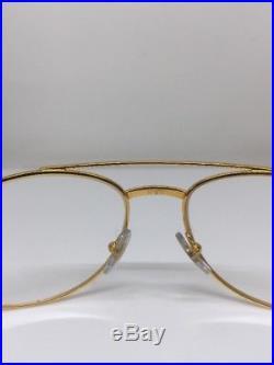 New Vintage Cartier Aviator Driver Eyeglasses Gold Plated T8100311 60mm France