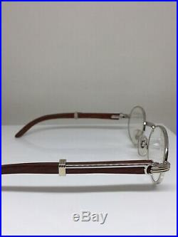 New Vintage Cartier Giverny Eyeglasses Cartier NOS Platinum & Wood T8100259 49mm