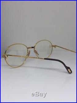 New Vintage Cartier Louis Eyeglasses Round Frame 18K Gold Plated 1980s France