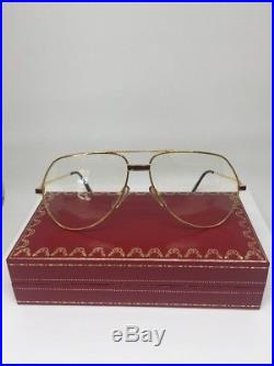 New Vintage Cartier Vendome Laque Bordeaux Large Aviator Eyeglasses Gold Plated