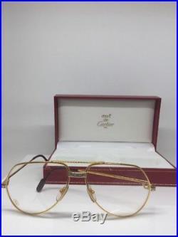 New Vintage Cartier Vendome Santos Aviator Eyeglasses James Bond 18K Gold Plated
