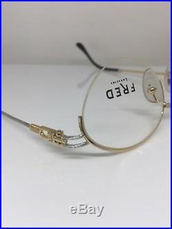 New Vintage FRED Lunettes Feroe Eyeglasses Gold Bicolore Rose C. 005 France 49mm