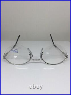 New Vintage FRED Lunettes Feroe Platinum Eyeglasses Force 10 Made In France 49mm
