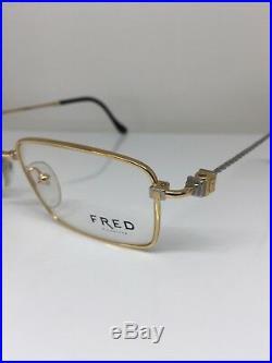 New Vintage FRED Lunettes Tropique C. Gold Bicolore Rose C. 005 Eyeglasses 51mm