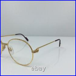 New Vintage Louis Cartier Round Eyeglasses 18K Gold Plated 1980s 55-18mm France