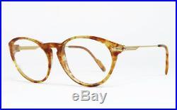 Nos Vintage Eyeglasses Cartier Aurore Jaspe Miel Dore Tortoise Gold Silver Frame