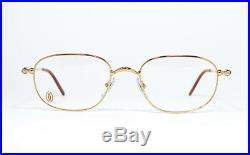 Nos Vintage Eyeglasses Cartier Deimos Gold Silver Tortoise Square Frame Wood