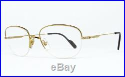 Nos Vintage Eyeglasses Cartier Montaigne Gold Silver Nylor Frame Square Round
