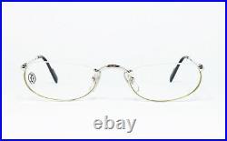 Nos Vintage Eyeglasses Cartier T8100348 51 Platine Gold Nylor Oval Frame Louis