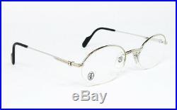 Nos Vintage Eyeglasses Cartier T8100376 Platinum Nylor Oval Frame Sunglasses