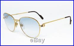 Nos Vintage Sunglasses Cartier Sapphire Louis Gold Gradient Round Frame Vendome
