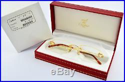 Orig. CARTIER Eye Frame T-EYE L Santos Titanium Gold Rimless T8100596 Full Set