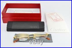 Orig CARTIER Eye Frame mod T-EYE A DIAMOND Santos Titanium Gold Rimless Oval NOS